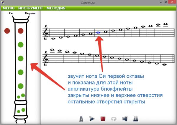 аппликатура блокфлейты на свирельке